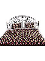 Black Bedspread with Ikat Weave Hand-Woven in Pochampally