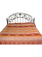 Brown Jamawar Bedspread with All-Over Weave