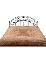 Brown Jamawar Bedspread with Mughal Design