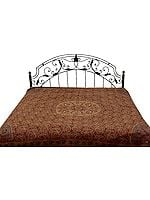 Brown Reversible Jamawar Bedspread