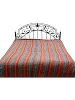 Multi-Color Double-Sided Pure Wool Jamawar Bedspread