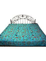 Robin-Egg Blue Gujarati Bedspread with All-Over Thread Work