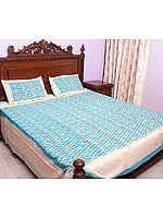 Sky-Blue Bedspread with Ikat Weave Hand-Woven in Pochampally