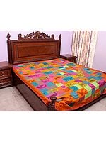 Multi-Color Printed Patchwork Bedcover from Ranthambore with Kantha Embroidery