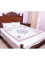 Powder-Blue Chikan Hand-Embroidered Pale-Yellow Bedspread from Lucknow