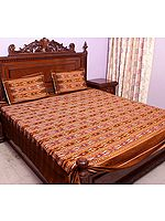 Brown Bedspread with Ikat Weave Hand-Woven in Pochampally