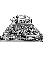 Bedspread with Hand Printed Folk Figures Inspired By Warli Art