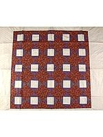 Tri-Color Patchwork Table Cover from Banaras with All-Over Golden Thread Weave