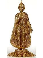 Buddha with Ashtamangala Carved on His Robe