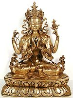 Large Size Chenresig, or the Four-Armed Avalokiteshvara (Tibetan Buddhist Deity)