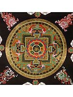 Auspicious Conch (Ashtamangala) Mandala with the Syllable Om Mani Padme Hum