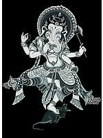 Black Thangka of Nrittya Ganesha