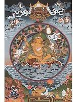 Bodhisattva Manjushri Riding a Ferocious Tiger