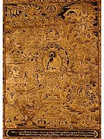 Gautam Buddha with Scenes from His Life