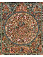Shakyamuni Buddha Mandala with Aspects of His Life, Thousand Armed Avalokiteshvara, Great Adepts and Wrathful Guardians