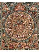 Shakyamuni Buddha Mandala with Aspects of His Life, Thousand Armed Avalokiteshvara, Great Adepts and Wrathful Guardians