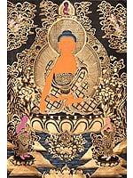 Tibetan Buddhist Lord Buddha in Earth Touching Gesture (Super Large Thangka)
