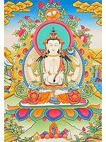 Fine Thangka of Tibetan Buddhist Deity Chenrezig (Four Armed Avalokiteshvara)