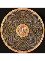 Tibetan Buddhist Goddess White Tara Mandala with Syllable Mantra (Large Size)