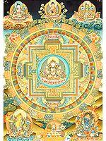 Tibetan Buddhist Chenrezig (Shadakshari Avalokiteshvara) Mandala
