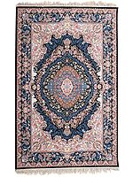 First-Blush Handloom Carpet from Kashmir with Persian Motifs All-Over