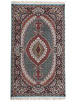 Wasabi Handloom Carpet from Bhadohi with Knotted Persian Design