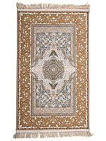 Bronze-Mist Handloom Carpet from Kashmir with Persian Knots