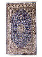"70"" x 49"" Royal-Blue Handmade Pure Silk on Silk Superfine Carpet from Kashmir"