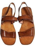 Brown Triple-Strapped Sandals for Men