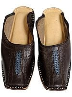 Coffee-Brown Slip-On Shoes for Men with Threadwork