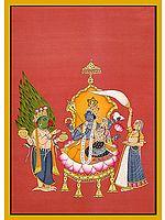 Garuda Paying Obeisance to Lakshmi Vishnu with Nectar Flasks