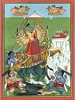 Goddess Durga with Bhairavas
