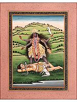 Mahavidya Kali, Her Luscious Locks And Bloodied Hands Adding To Her Fierce Beauty