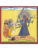 Tri-Murti Paying Homage to Kali