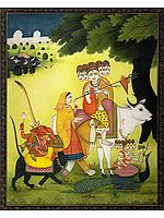 Descent of Lord Shiva and Family from Kailash