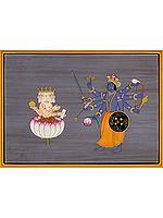Mahavishnu Blesses Brahma Ji after His Prolonged Tapasya (For Creation of the Universe)
