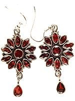 Faceted Garnet Flower Earrings with Charms