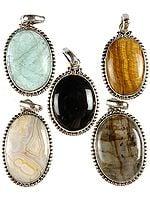 Lot of Five Gemstone Oval Pendants (Green Fluorite, Tiger Eye, Black Onyx, Picture Jasper and Labradorite)