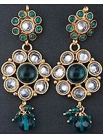 Crystal Polki Post Earrings with Green Cut Glass