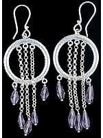 Dangling Drop Faceted Amethyst Hoop Earrings