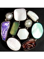 Multi-color Gemstone Belt Buckle (Pearl, MOP and Larimar)