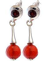 Faceted Carnelian Earrings with Garnet