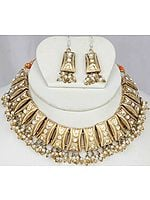 Golden Lacquer Necklace and Earrings Set with Cut Glass