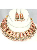 Orange Meenakari Necklace Set with Dangling Beads
