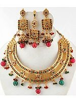 Polki Faux Ruby and Emerald Bridal Choker with Earrings and Mang Tika Set