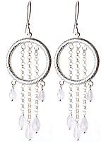 Moonstone Hoop Cascade Earrings