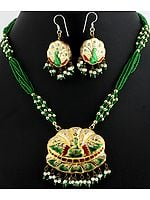Meenakari Beaded Necklace Set with Golden Accent