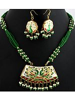 Green Bridal Necklace Set with Peacock Pair