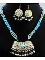 Turquoise Color Beaded Necklace Set with Peacock Pair