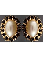 Pearl Post Earrings with Black Spinel